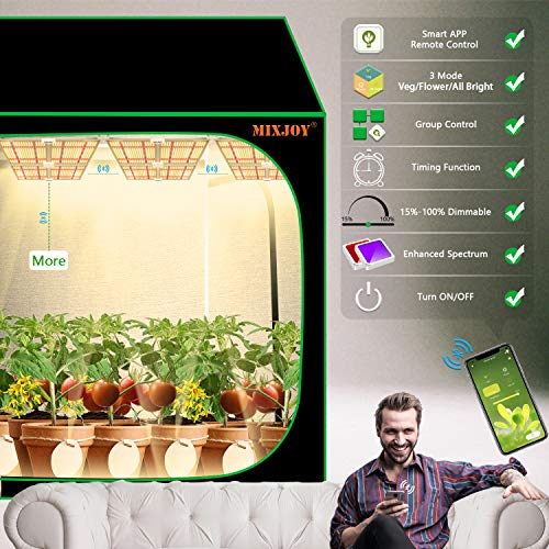 MIXJOY 2021 Latest GL4000s Led Grow Lights for Indoor Plants, Enhanced Full Spectrum with Samsung LM301 Diodes, Smart Control Grow Lamp with Dimmable,Group,Timing Functions, Red/IR/UVA 1256pcs LEDs