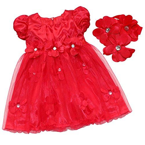 iiniim Rouge Tulle Fleur Pétale Tutu Robe de Soirée Bébé Fille avec Bandeau 6-24 Mois Rouge 9-12 Mois
