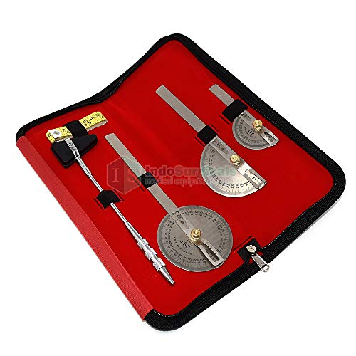 IS Indosurgicals Goniometer Set of 3 with Knee Hammer & Measuring Tape