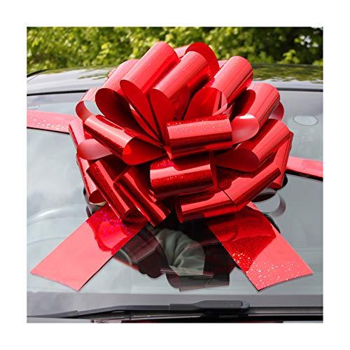 Jaffa Imports - Fiocco gigante per auto (40,6 cm), 6 metri di nastro per auto, moto e regali di Natale e compleanno di grandi dimensioni, rosso olografico