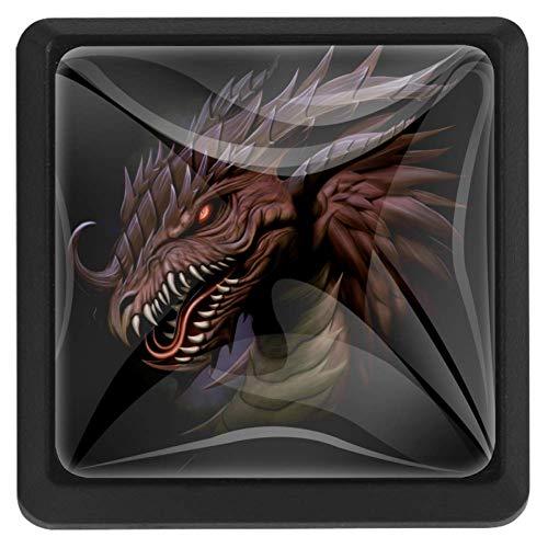 FCZ 3 Stück Cool Dragon Fantasy Scary Monster Schubladenknöpfe Pull Griff Kristallglas quadratische Form Schrank Schubladen Griffe mit Schrauben für Zuhause Küche Büro