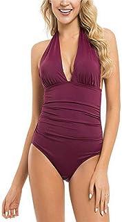 女性のワンピース水着痩身水着女性のための背中の開いたvネック水着おなかコントロール水着 (Color : Green, Size : L)