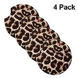 bestshop 4PCS Leopard Auto Untersetzer für Getränke Neopren Cup Untersetzer Gummi 2,56 Zoll Car Cup Pad Matte Autozubehör für Auto Wohnzimmer Küche Büro zum Schutz von Auto und Möbeln
