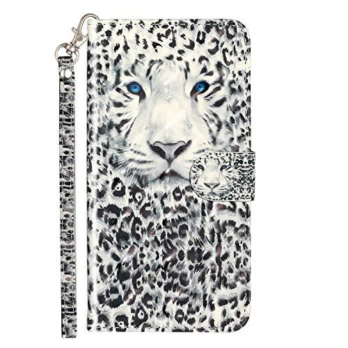 Nodigo Cuero Funda para LG K11/LG K10 2018 Antigolpes Libro Billetera Magnetica Flip Silicona Dibujos Animal Motivo 360 Carcasa Case Bumper Kawaii Resistente Cover - Leopardo