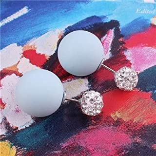 Jewelry Earrings Great 3 Pairs Shining Double Sides Pearl Ball Bead Stud Earrings For Women(Pink) (Color : Light Blue)