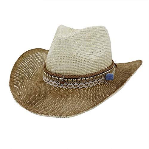 SFSGH Hombres Mujeres Sombrero de Vaquero de Paja de Verano Sombrero de Playa al Aire Libre Protector Solar Sombrero de Sol de Encaje con pompón Azul (Color: 1, Tamaño: 56-58CM)