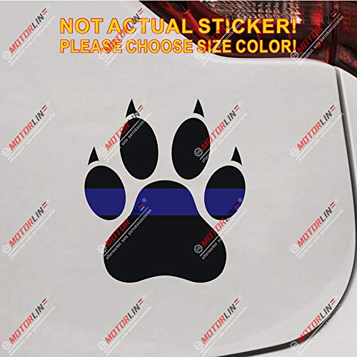 Dog Paw Thin Blue Line K9 Unit Decal Sticker Car Vinyl Reflective Glossy Pick Size (Glossy, 20''(50.8cm) x 17.5'(44.4cm))
