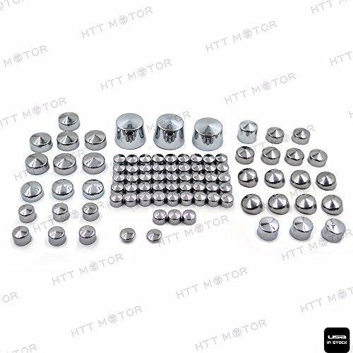 HTTMT - Lot de 87 cache-écrous chromés pour moteur Harley Softail 00-06 et divers écrous.