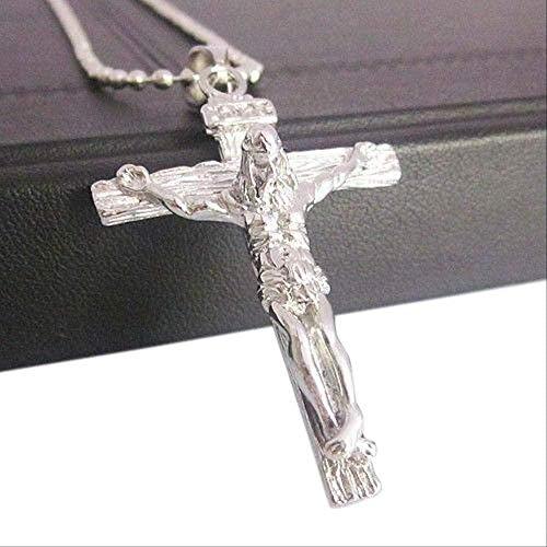 ZVBEP Collar Popular Men S Christian Acero Inoxidable Jesús en la Cruz Colgante Collar de Cadena con Cuentas