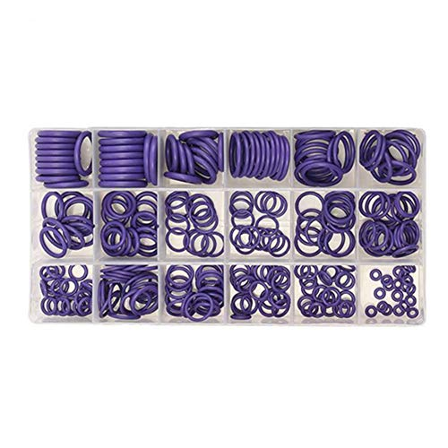 KingBra - Juego de juntas de compresor de aire acondicionado para reparación de automóviles, 270 unidades, 18 tamaños, surtido con herramienta de extracción de núcleo de válvula, color morado