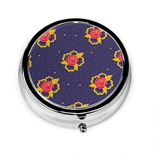 Caja organizadora redonda con diseño de lunares, 2 compartimentos, para vitaminas, tabletas,...