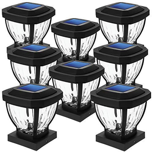 Home Zone Security Decorative Outdoor Solar Post Lights Black No Wiring 8 Set