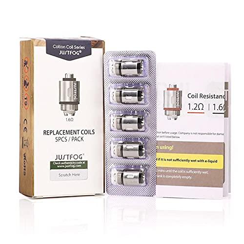 Pack 5 résistances 1,2 ohm JUSTFOG Q16 Q14 C14 G14 S14 sans nicotine et sans tabac