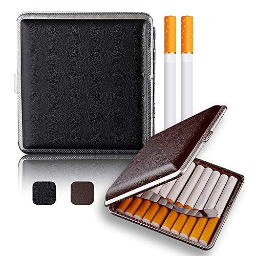 Yisika Leder Zigarettenetui,Zigarettenschachtel,2 Stück Zigarettenetui Metallrahmen Exquisite und Tragbare Tragetaschen für 20 Zigaretten (Schwarz, Braun)