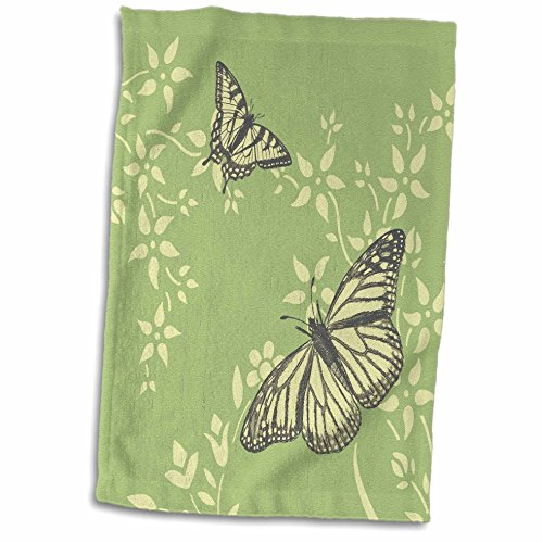 3D Rose Pretty Butterflies On Pale Yellow and Green Floral Background Hand Towel, 15' x 22'