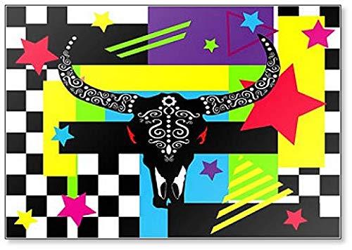 Bulls hoofd met sterren, Pop Art Kleurrijke Illustratie Koelkast Magneet