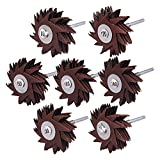 Mixiflor 7 Pack New type Abrasive Cloth Flap Wheel 1/4 Inch Shank for Woodworking Root Carving Furniture Polishing 80, 120, 150, 180, 240, 320, 400 Grits