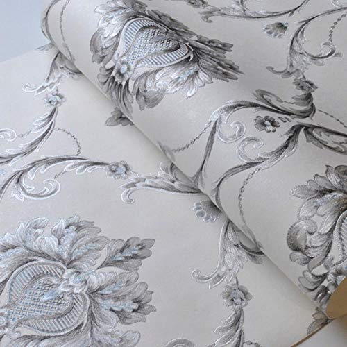 Luxury Grey White Damask Embossed Wallpaper Bedroom Living Room Background Home Decoration