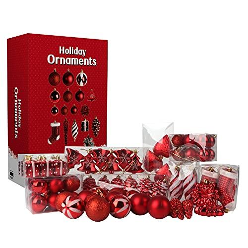 Best Goods Juego de 64 bolas de Navidad para decorar el árbol de Navidad, bodas, fiestas
