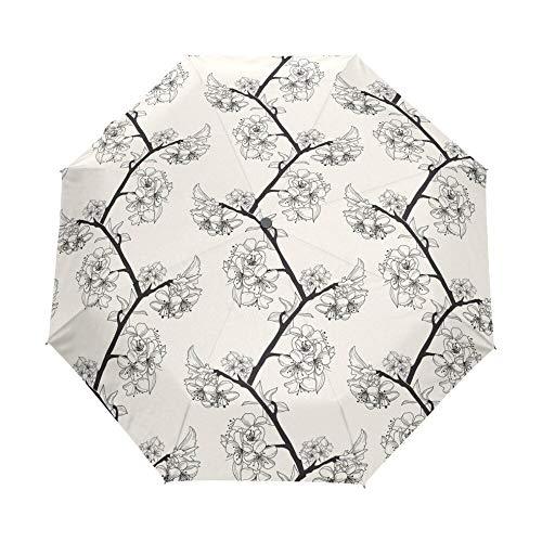 Sonnenschirm Regenschirm Hochwertiger Eleganter Blumenschirm Klarer Damenschirm Winddichte Faltschirme Kompakter Regenschirm 3 Faltbare Fullautomatik