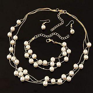 4Pcs Women's Whole Set Necklace Bracelet Earrings Set