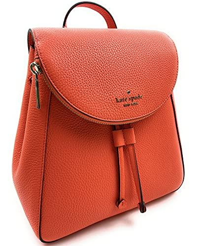Kate Spade Leila Medium Flap Pebbled Leather Backpack (Coral Buds)
