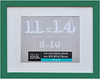 11 x 14 Picture Frame Colored Photo Frames - Displays 8x10 with Mat or 11x14 W/O Mat - Wall Mounting Material Included …Children's Art Frame (Hunter Green)