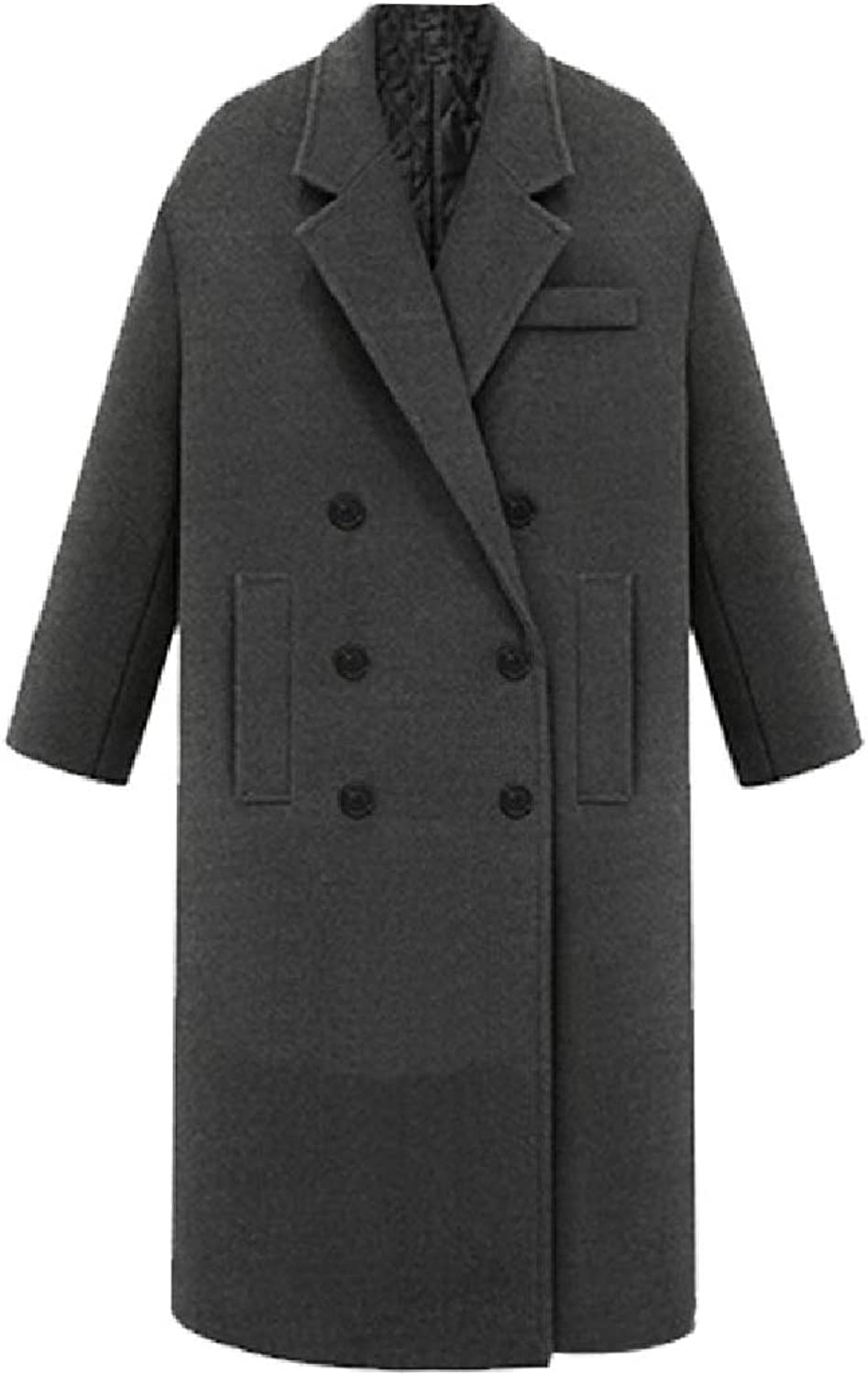 color&W Womens Fitted Lapel Thick Casual Mid Long Double Breasted Woolen Jacket