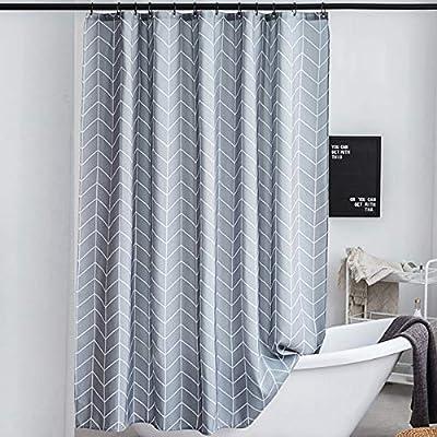 Amazon - Save 50%: Grey Chevron Fabric Shower Curtain Heavy Duty Waterproof Striped Show…