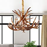 Rustic Antlers Chandelier, XINDAR Small Deer Horn Chandelier 4 Lights , Farmhouse Candle Style Resin Pendant Lamp for Dining Room Living Room Cabin Decorations