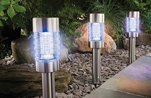 4 lampade a energia solare, cambia colore o bianche, in acciaio inox e vetro, con pannello solare e sensore per accensione al crepuscolo - Illuminazione per vialetti - in acciaio di alta qualità con 2 LED a energia solare, funzionamento in bianco o cambia colore con tecnologia Colour Lock (singoli colori regolabili) - con batteria NiMH - lampada a LED in acciaio inox