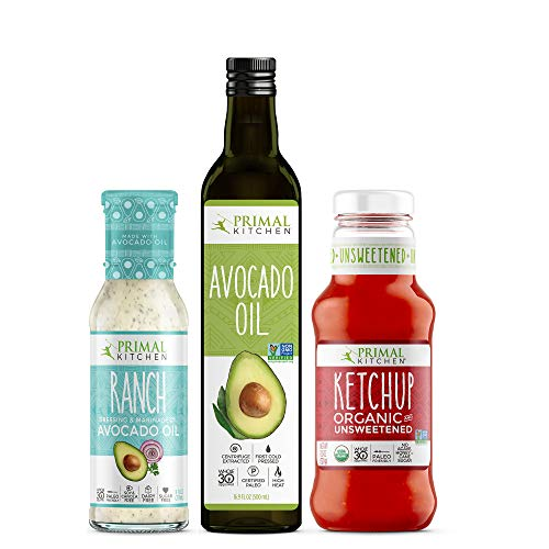 Primal Kitchen Condiment Essentials Kit - Contains Avocado Oil, Ranch Dressing, and Organic Unsweetneed Ketchup, Whole 30 Approved - 3 Bottles
