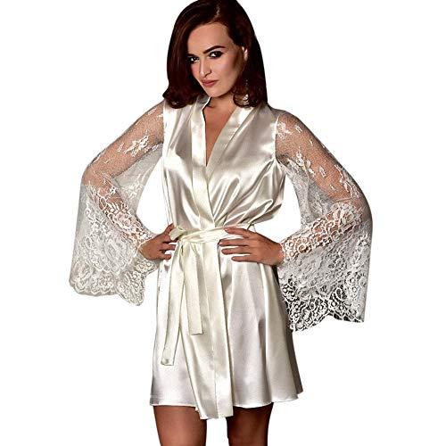 TEBAISE Damen Plain Round Collar long sleeve Dressing Gown weiß s