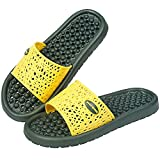 Acupressure Foot Massage Slippers Reflexology Sandals for Foot Stress Relief Massage Non-Slip Water-Proof Quick Drying Shower Bathroom Slides with Drain Holes (Yellow + Green, 8)