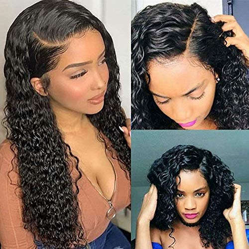 Curly Human Hair Wigs For Black Women Full Lace Human Hair Wigs Deep Wave Lace Frontal Wig Black Unprocessed Remy Human Hair Wigs Pre Plucked Lace Front Wet and Wavy Deep Wave Human Wig 16'