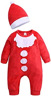 lcky Christmas Baby Climbing Jacket boy Girl red Jumpsuit Christmas hat