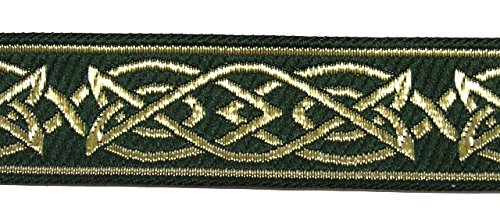 10m Keltischer Borte Webband 25mm breit Farbe: Dunkelgrün-Gold präsentiert von 1A-Kurzwaren MG05-25-dgngo (Dunkelgrün-Gold)