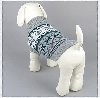 Tineer Manteau de Tricot de Flocon de Neige de Chien d'animal familier, Chiot Chat Pull-Overs Sweater Jacket Hiver Noël vêtements Chauds (XS, Gris)