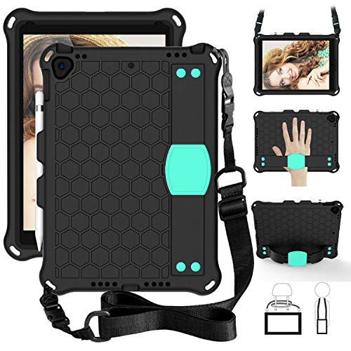 Cover, For iPad pro 10.5/Air 10.5(2019) Shockproof Kids Case Shockproof Duty Rugged Full Body Protection + Handle Kickstand Stand Cover,Shoulder Strap, For Kids,With Pen Holder ( Color : Black+Aqua )