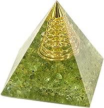 Yatming Orgone Crystal Pyramid Positive Energy Generator, Orgonite Peridot Stone Home Decoration for Meditation & Reiki Healing Figurine