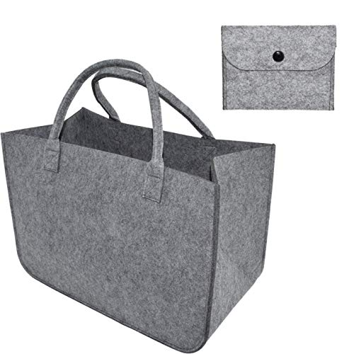 Juego de bolsas de fieltro XL para la compra, incluye mini bolsa de fieltro, bolsa con asa de fieltro, cesta de la compra con asa, color gris claro