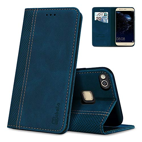 AKABEILA Huawei P10 Lite Hülle Leder, Huawei P10 Lite Handyhülle Silikon, Kompatibel für Huawei P10 Lite Schutzhülle Brieftasche Klapphülle PU Magnetverschluss Kartenfächer Hüllen, Blau