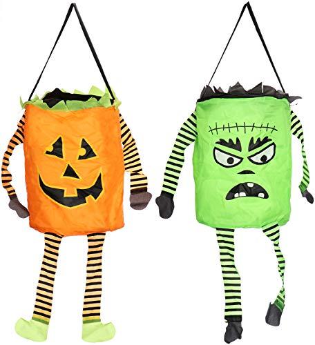 COM-FOUR® 2x Halloween-tas - pop-up tas voor het verzamelen van snoepjes - Halloween-tas met zombie- en pompoenmotief (2 stuks - pop-up groen/oranje)