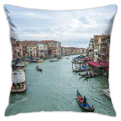 Home Pillow Venice, Canale Grande, Canal, Italia, agua, ciudad, barcos de moda, funda de cojín con 45,7 x 45,7 cm