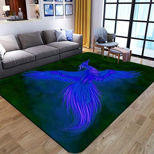 LHGBGBLN Blauer 3D-Teppich Bird Print Wohnzimmer Großflächiger Teppich Sofa Tisch Balkon Bodenmatte Anti-Rutsch-Matte Türmatte