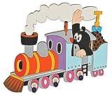 alles-meine.de GmbH Garderobenhaken - der kleine Maulwurf - Pauli - mit Eisenbahn - Holz Kinder 3 Haken Kinderzimmer Garderobe Kleiderhaken Kindergarderobe