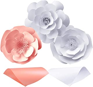 PP OPOUNT 20 Pieces 3D Paper Flowers Decoration, Pearlescent Paper Light Pink and Ice White Shimmer Paper for DIY Wedding Rose Flower, Flower Wall Backdrop Decoration Craft