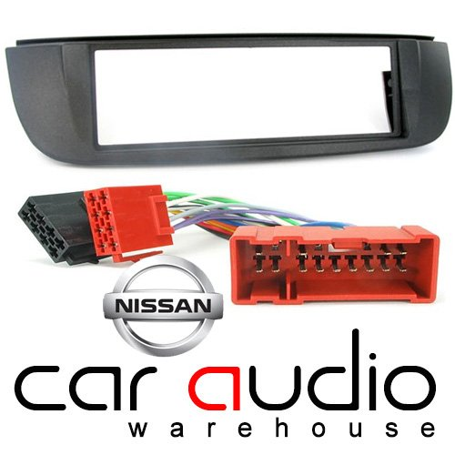 T1 Audio para radio de coche para Nissan Tino 2000 - 2004 unidades - Nissan Almera Tino Din para radio de coche marco embellecedor de radio y adaptador para arnés de ISO para montaje de bacas