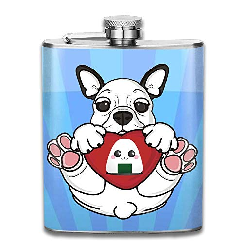 I Love Onigiri Funny Bulldog Stainless Steel Liquor Flagon Retro Pocket Flask\Stainless Steel Travel Flask Great Little Gift,Safe And Nontoxic