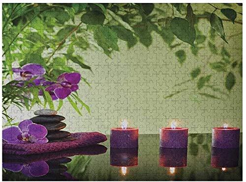 Spa Adult Puzzles 500 piezas, Zen Stones, velas aromáticas y orquídeas, tratamiento de flores, vacaciones, verde helecho, morado, verde pálido